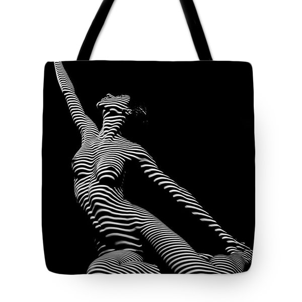 9970-dja Zebra Striped Yoga Reaching Sensual Lines Black White Photograph Abstract By Chris Mahert Tote Bag