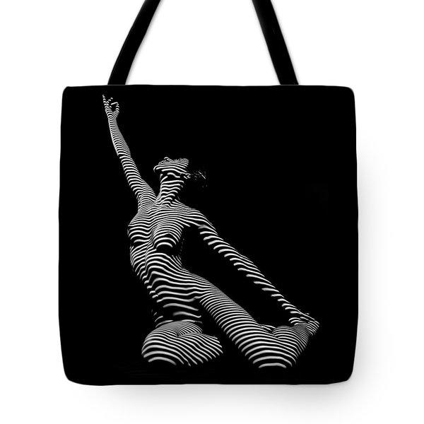 9970-dja Zebra Striped Yoga Reaching Sensual Lines Black White Photograph Abstract By Chris Mahert Tote Bag