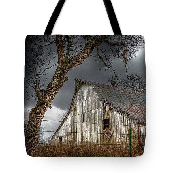A Barn In The Storm 2 Tote Bag by Karen McKenzie McAdoo