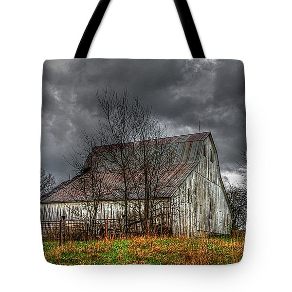 A Barn In The Storm 3 Tote Bag by Karen McKenzie McAdoo