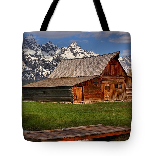 A Barn In The Tetons Tote Bag by Adam Jewell