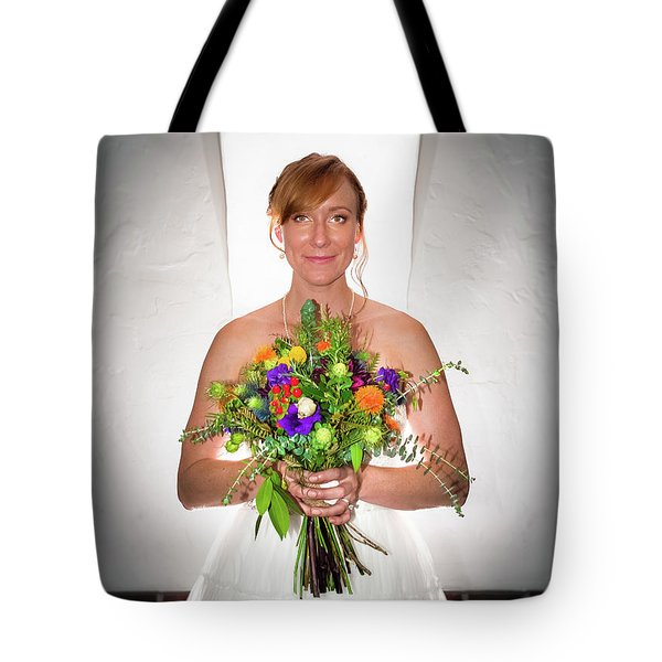 A Beautiful Backlit Bride And Her Bouquet Tote Bag