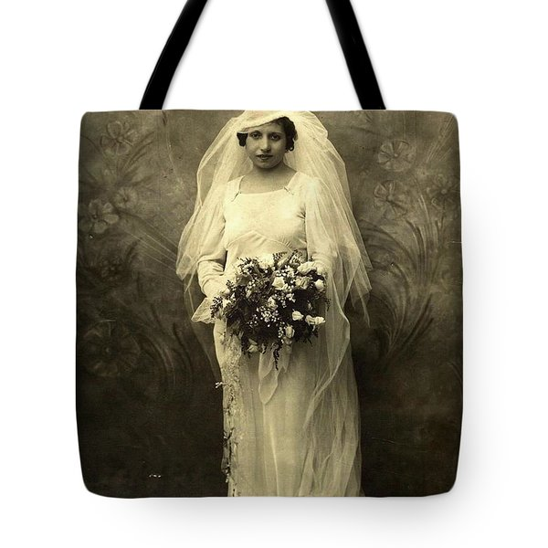 A Beautiful Vintage Photo Of Coloured Colored Lady In Her Wedding Dress Tote Bag by R Muirhead Art