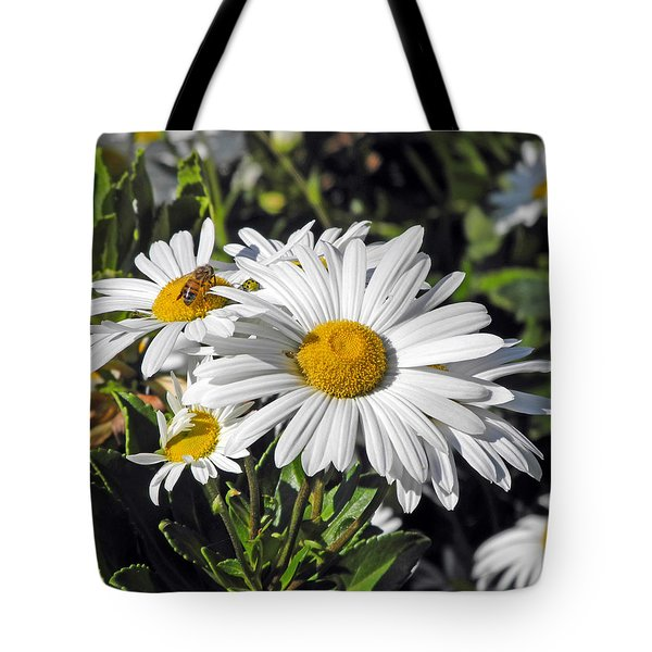 Tote Bag featuring the photograph A Bee And A Ladybug by Lynda Lehmann