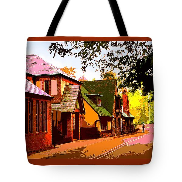 A Bicyclist On English Lane Tote Bag