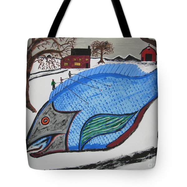 Tote Bag featuring the painting A Big Fish Tale by Jeffrey Koss