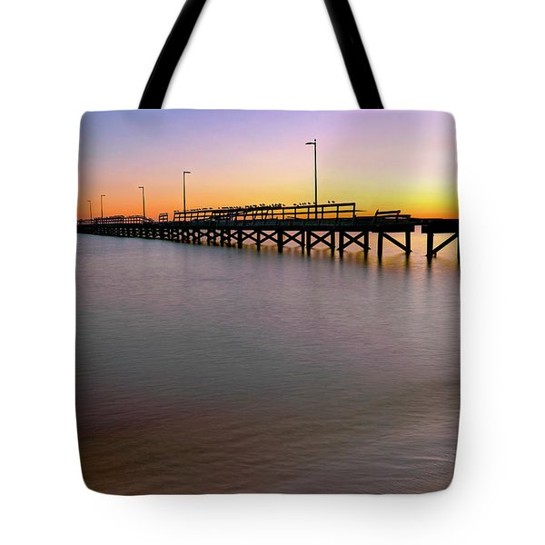 Tote Bag featuring the photograph A Biloxi Pier Sunset - Mississippi - Gulf Coast by Jason Politte