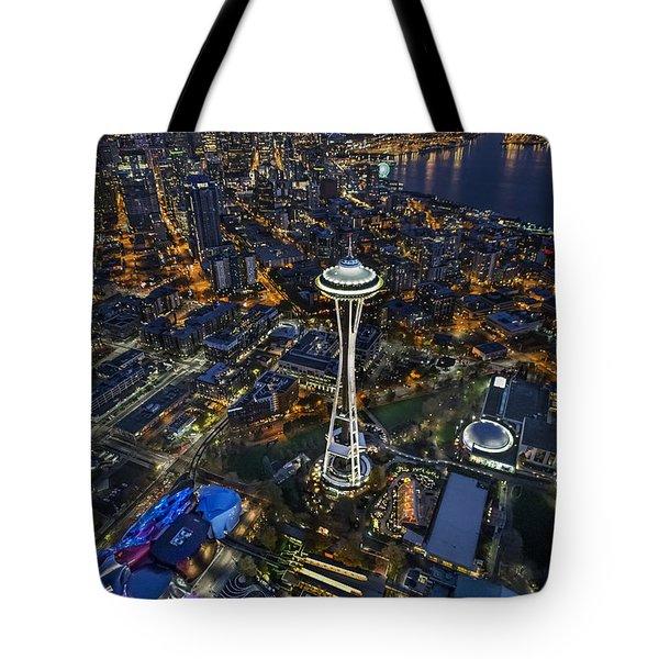 A Birds-eye View Of Seattle Tote Bag by Roman Kurywczak