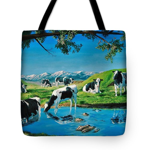 A Black And White Field Tote Bag