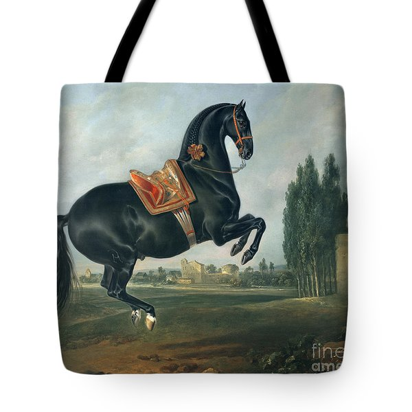 A Black Horse Performing The Courbette Tote Bag by Johann Georg Hamilton