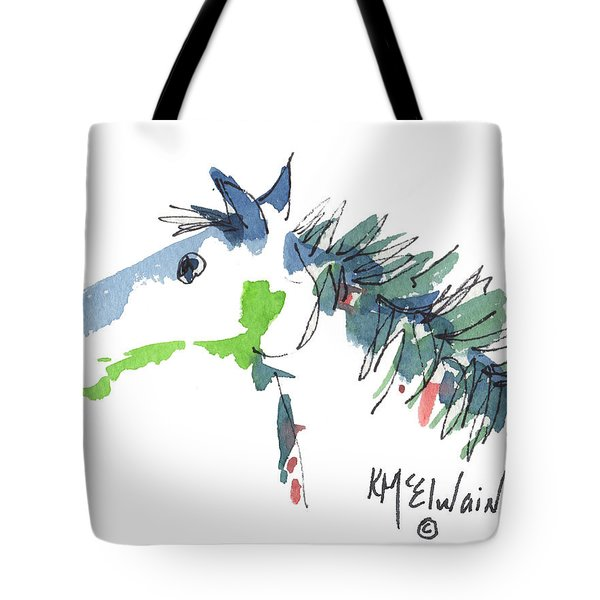 A Blue Roan Horse Watercolor Painting By Kmcelwaine Tote Bag