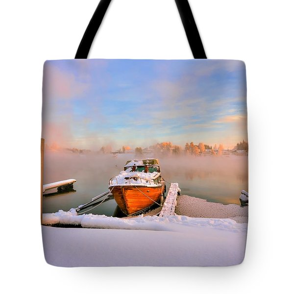 Boat On Frozen Lake Tote Bag