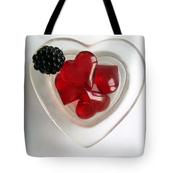 Tote Bag featuring the photograph A Bowl Of Hearts And A Blackberry by Ausra Huntington nee Paulauskaite