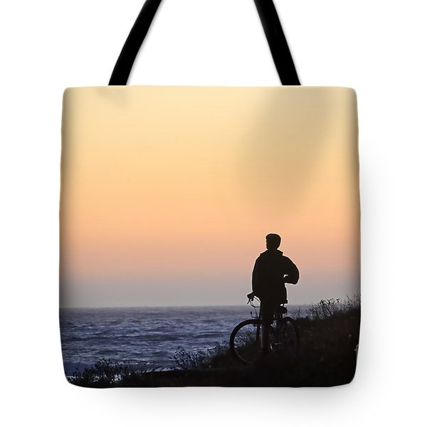 A Boy His Bike And The Beach Tote Bag