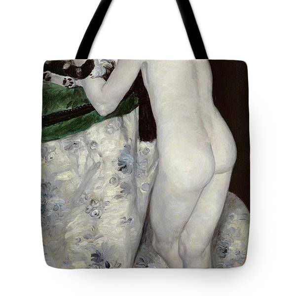A Boy With A Cat Tote Bag by Pierre Auguste Renoir