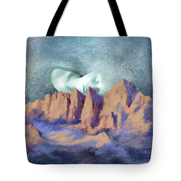 Tote Bag featuring the painting A Breath Of Tranquility by Sgn