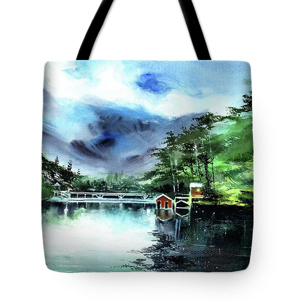 Tote Bag featuring the painting A Bridge Not Too Far by Anil Nene
