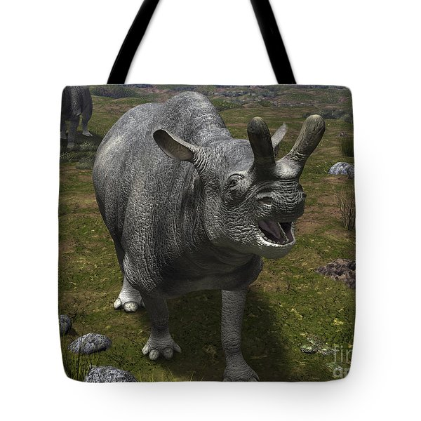 A Brontotherium Leaves His Forest Tote Bag by Walter Myers