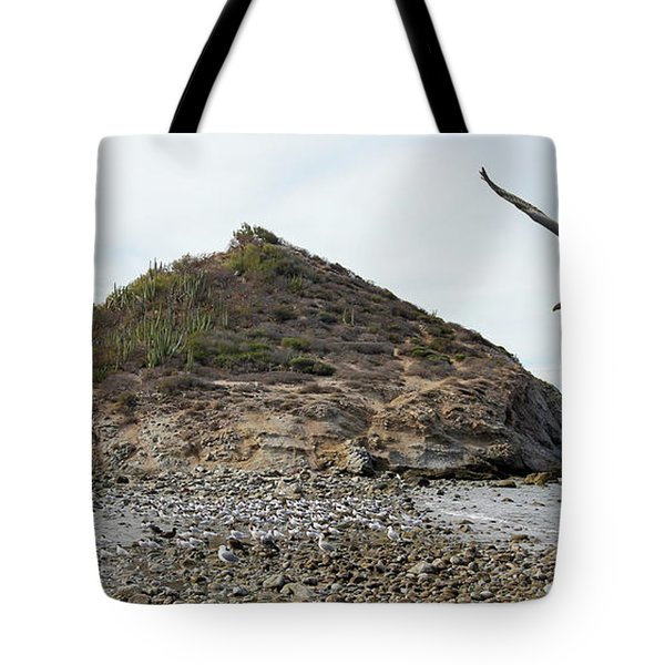 A Brown Pelican Does A Flyby Of A Cactus Covered Desert Island  Tote Bag