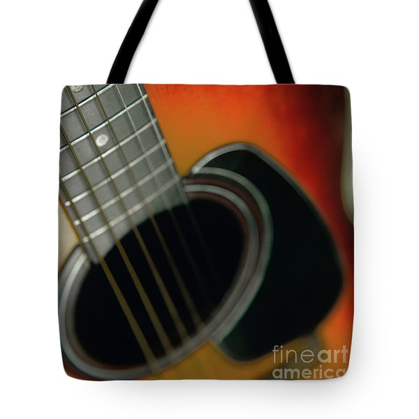 Tote Bag featuring the photograph  Guitar  Acoustic Close Up by Bruce Stanfield