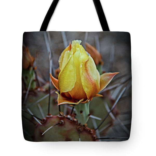Tote Bag featuring the photograph A Bud In The Thorns by Robert Bales