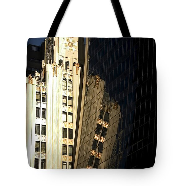 A Building Into A Building Tote Bag by Karol Livote
