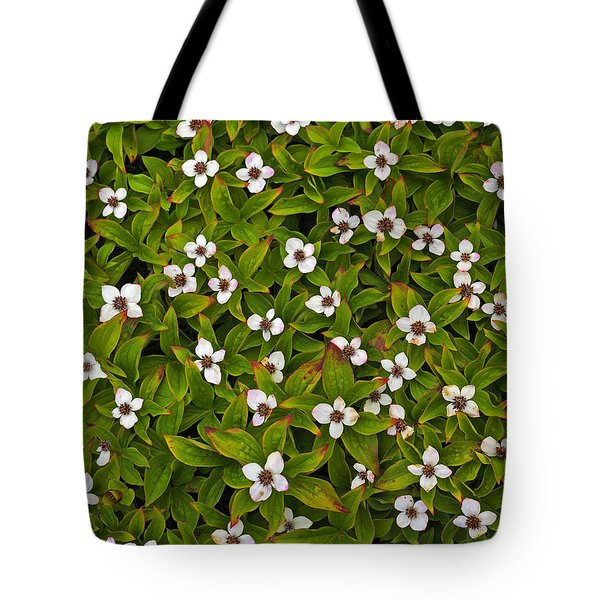 A Bunch Of Bunchberries Tote Bag by Tony Beck