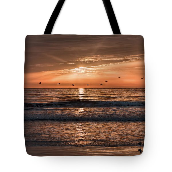 Tote Bag featuring the photograph A Burnished Sunrise by John M Bailey