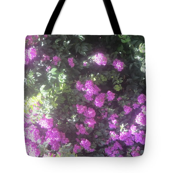 A Bush With Violet Flowers Tote Bag