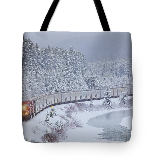 A Canadian Pacific Train Travels Along Tote Bag by Chris Bolin