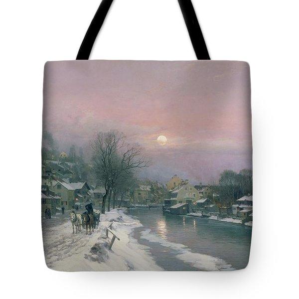 A Canal Scene In Winter  Tote Bag
