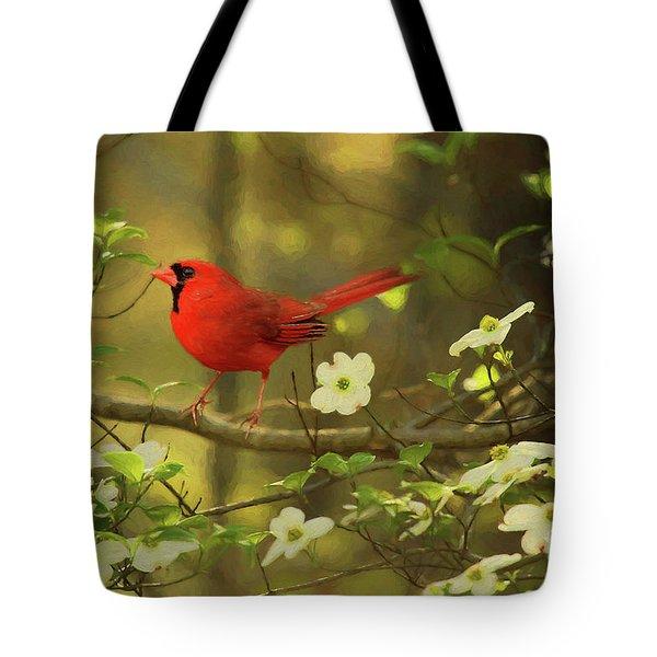 A Cardinal And His Dogwood Tote Bag
