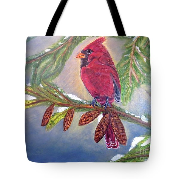 Tote Bag featuring the painting A Cardinal's Sweet And Savory Song Of Winter Thawing Painting by Kimberlee Baxter