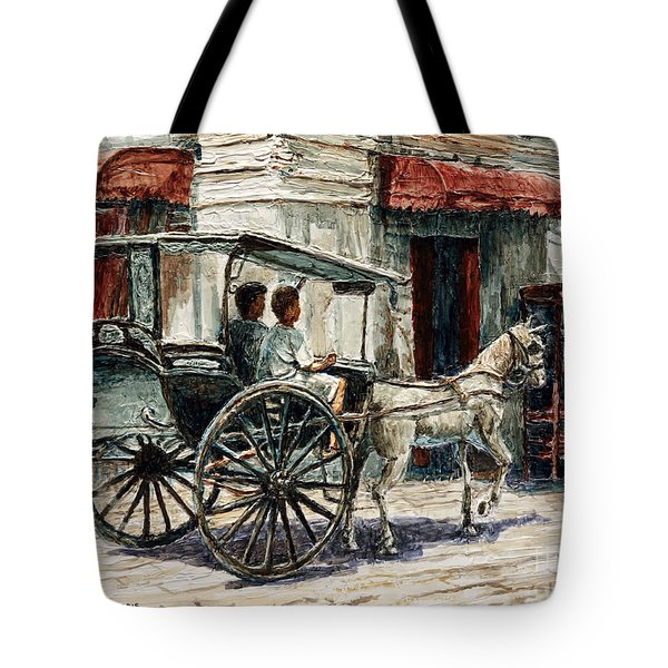 A Carriage On Crisologo Street Tote Bag by Joey Agbayani