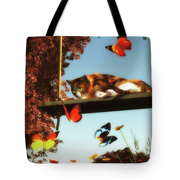 A Cat Looks At The Butterflies Tote Bag