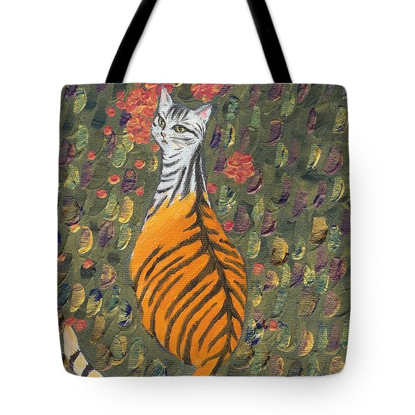 Tote Bag featuring the painting A Cat's Dream Apparel by Jingfen Hwu