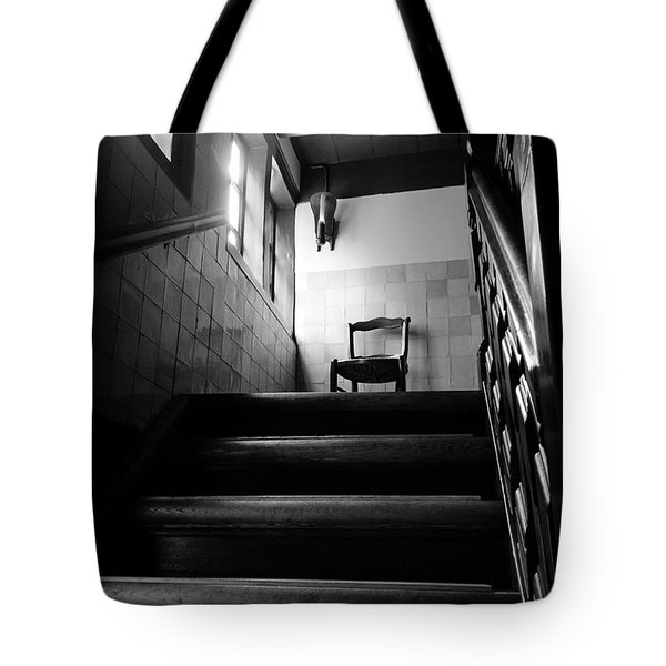 A Chair At The Top Of The Stairway Bw Tote Bag by RicardMN Photography
