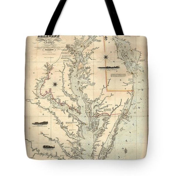Tote Bag featuring the painting A Chart Of The Chesapeake And Delaware Bays 1862 by Celestial Images