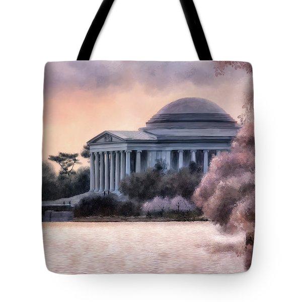 A Cherry Blossom Dawn Tote Bag by Lois Bryan