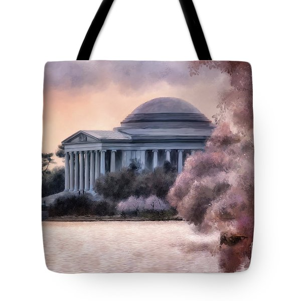 Tote Bag featuring the digital art A Cherry Blossom Dawn by Lois Bryan