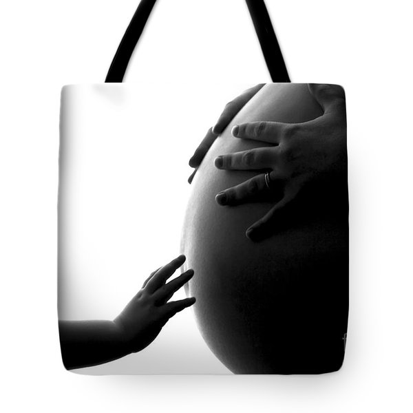 A Child's Reach To A Future Sibling Tote Bag by Darcy Michaelchuk