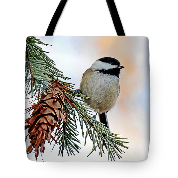 Tote Bag featuring the photograph A Christmas Chickadee by Rodney Campbell