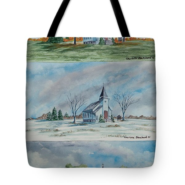 A Church For All Seasons Tote Bag by Charlotte Blanchard
