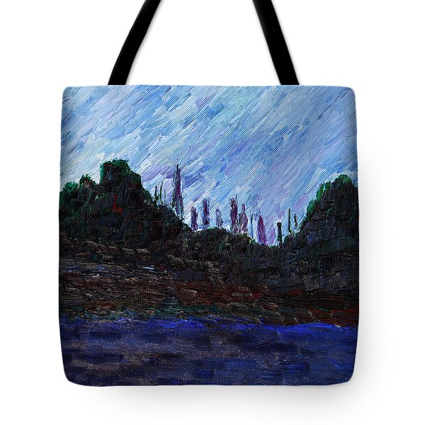 Tote Bag featuring the painting A City That Never Sleeps by Vadim Levin