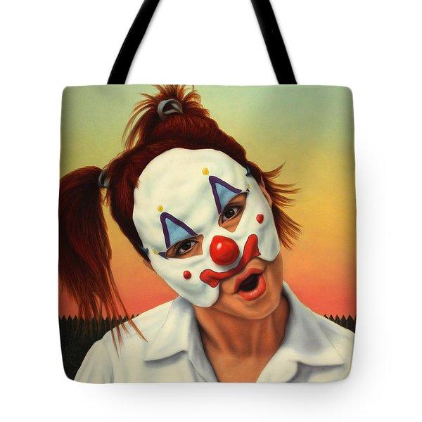 A Clown In My Backyard Tote Bag by James W Johnson