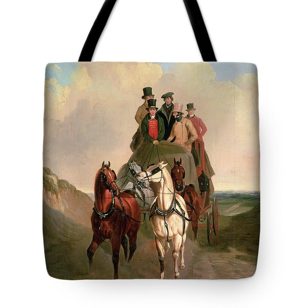 A Coach And Four On An Open Road  Tote Bag by William Snr Shayer