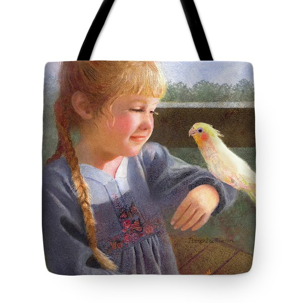 Tote Bag featuring the painting A Cockatiel Named Sunshine by Nancy Lee Moran