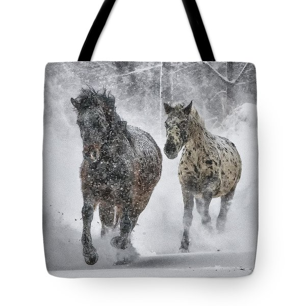 A Cold Winter's Run Tote Bag by Wade Aiken