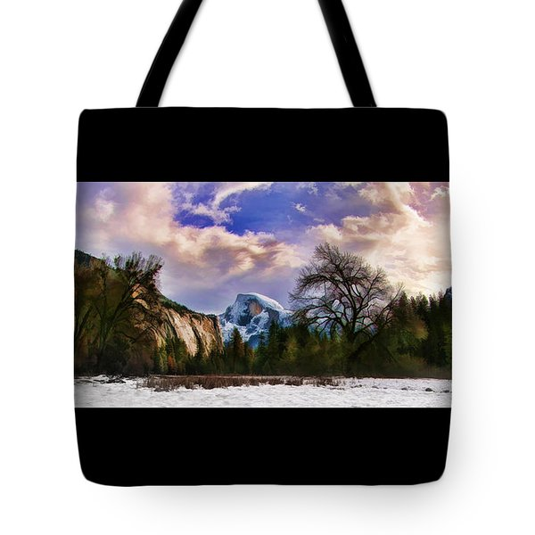A Cold Yosemite Half Dome Morning Tote Bag