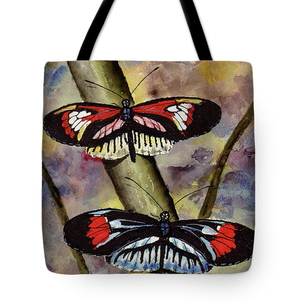 Tote Bag featuring the painting A Colorful Couple by Sam Sidders